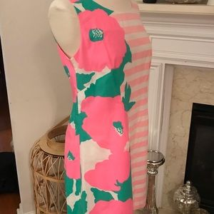 Lilly Pulitzer pink white striped flowers dress